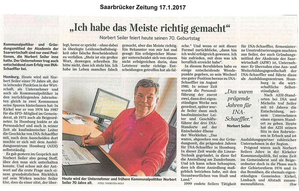 """Saarbrücker Zeitung – """"Ich habe das Meiste richtig gemacht"""""""